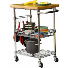 Storage Chrome Kitchen Cart Bamboo Butcher Block Island Rolling Rack Portable
