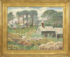 """""""Cape Cod Houses,"""" Harold C. Dunbar, oil on canvas, 55.88 x 71.12"""", private collection."""