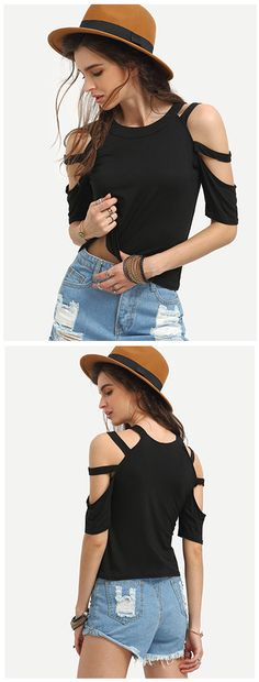 Ladder-Cutout Shoulder T-shirt