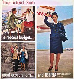 Em 14 de dezembro de 1927, a Iberia Aérea realizou seu primeiro voo. Horacio Echevarrieta havia fundado a empresa alguns meses antes com o apoio de Primo de Rivera. Somente em 1946 a companhia decidiu incorporar as aeromoças em seu primeiro voo transoceânico, que conectava Madri a Buenos Aires; foram as primeiras da Espanha. Na imagem, uma publicidade da Iberia dos anos 1960 em que se identificam valores da companhia com a Espanha.