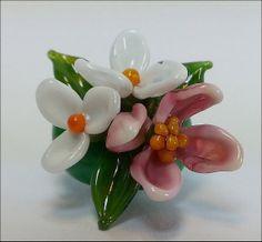 Miniature Flower Garden Sculpture Handmade Lampwork by danacreates on Etsy $14.95