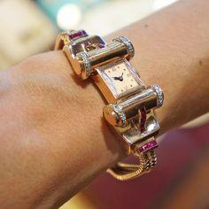 Lonville 14K Rose Gold Diamond & Ruby 1940s Bracelet Watch