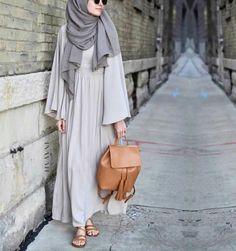 Inayah stone maxi dress with binding detail + ash modal hijab - www. Hijab Chic, Hijab Casual, Abaya Chic, Islamic Fashion, Muslim Fashion, Modest Fashion, Abaya Style, Hijab Dress, Hijab Outfit