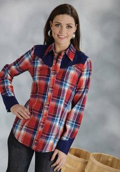 $48.99 nice Stetson 03-050-0597-6047 RE LADIES Five Star LONG SLEEVE SHIRT RED