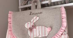 Hola!!! Mucho tiempo sin publicar nada... pero aquí estoy de nuevo con dos labores muy dulces: una mochila para Laura: ... Diaper Bag, Sewing Crafts, Toddler Dress, Craft, Vestidos, Baby Gifts, Baby Embroidery, Baby Sewing, Baby Things