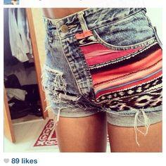 high wasted + acid wash + patterned shorts = <3 <3 <3