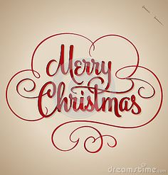 Merry Christmas hand lettering (vector) by Letterstock, via Dreamstime