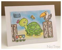 Gerda Steiner Designs - Hallo Friend Turtle (Digistamp June's Challenge), Hoppiness, Go Wild! Lawn Fawn Happy Easter