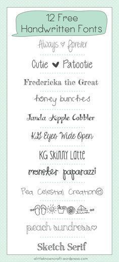 12 Free Handwritten Fonts - A Little Known Craft  ~~ {w/ easy download links}