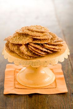 A Southern treat--Paula Deen Benne Seed Cookies--in honor of our trip to Savannah, Georgia, this month Yummy Cookies, Yummy Treats, Sweet Treats, Yummy Food, Cupcakes, Cupcake Cookies, Lace Cookies, Paula Deen, Benne Wafers Recipe