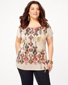 aztec print t-shirt Elle Fashion, Shirt Shop, T Shirt, Addition Elle, Aztec, Floral Tops, Peplum, Clothes For Women, Summer