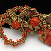 Fabulous  MIRIAM HASKELL  Coral Beaded Russian Gilt Brooch http://www.rubylane.com/shop/atouchofrosevintagejewels/ilist/,c=All_Items,id=0,page=2.html