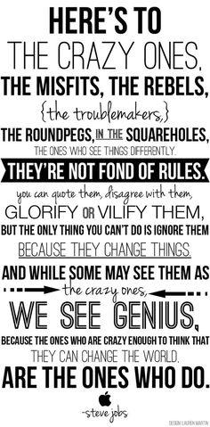 Here's to the crazy ones #stevejobs #entrepreneur #genius: