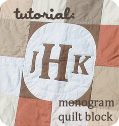 How to Make a Monogram Quilt Block – waterpenny quilts Quilting Tips, Quilting Tutorials, Quilting Projects, Sewing Projects, Boy Quilts, Mini Quilts, Signature Quilts, Shirt Quilt, Quilted Wall Hangings