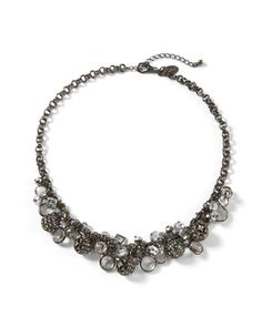 Womens Clear Crystal Hematite Fireball Bauble Necklace by White House