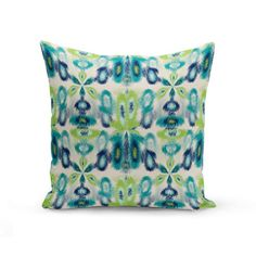 Outdoor Throw Pillow, Outdoor Pillow, Navy Teal Beige Green, Outdoor Decor