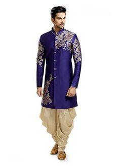 Elegant blue color Semi Indowestern for Mens Sherwani For Men Wedding, Wedding Dresses Men Indian, Wedding Dress Men, Wedding Men, Wedding Attire, Ethnic Outfits, Indian Outfits, Fashion Outfits, Ethnic Clothes