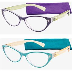 Star Cat Eye readers in purple or turquoise with ivory frames are at Debspecs