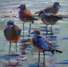 OIL+PAINTING+OF+SEAGULLS+IN+THE+SURF,+painting+by+artist+Elizabeth+Blaylock