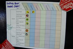 "The Bedtime Bear Award - Uses a reward chart to track successes with napping and bedtime.  Kids get to put on stickers when they do something well.  If they hit a goal number of stickers, they get to pick prizes from a ""treasure chest!"""