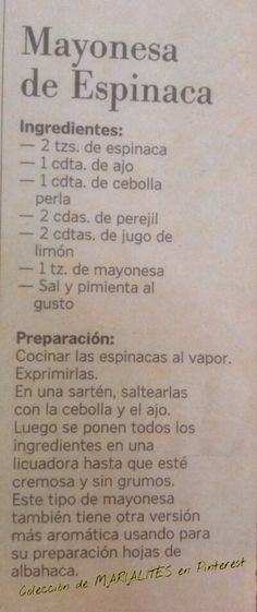Cocina – Recetas y Consejos Veggie Recipes, Mexican Food Recipes, Cooking Recipes, Healthy Recipes, Mayonnaise, My Favorite Food, Favorite Recipes, Pesto, Latin Food