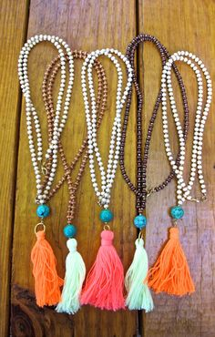 Long Wooden Beaded Tassel Necklace  Round Green by MallyClaire, $28.00