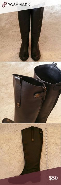 Sam Edelman Black Leather Riding Boots - 8 Boots are in great condition with minimal wear or scuffing. They zip up the length of the back, have a bit of elastic on the upper inner portion, and a pull tab on the outside. See measuring tape in photos for shaft measurements. Sam Edelman Shoes