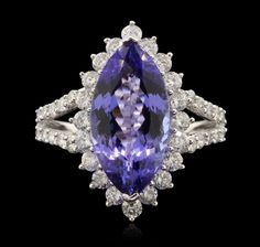 14KT White Gold 4.38ct Tanzanite and Diamond Ring RM1826 .'