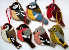British Birds, set of 7 felt Christmas decorations