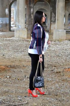 A Hint of Moxie: Red, White, & Blue...With A Side of Black  Plaid blazer with skinny jeans and red pumps. Rebecca Minkoff bag.