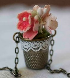 How to Make a Flower Thimble Necklace