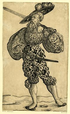 1525-1530 (Circa)  Print made by: Jörg Breu I.     Published by: David de Negker.     Block cut by: Jost de Negker. A Landsknecht holding a sword behind his neck; whole-length figure, looking to left. From a series of fifty woodcuts. c.1525-30 Woodcut