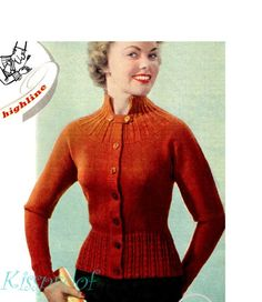 """Vintage 50s Knitted - Knit """"Cardigan"""" Sweater - PDF Pattern - INSTANT DOWNLOAD"""