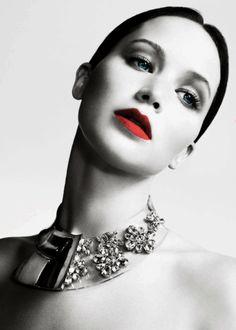 lucite collar + bold lip.