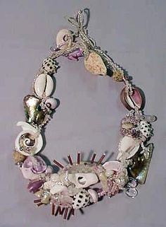 """Beach worn shells beaded in the peyote free form style -- I love the """"found object,"""" mermaid neckless vibe."""