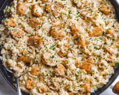 One-Pan Creamy Parmesan Chicken and Rice - Delicious, creamy, cheesy chicken and rice made in one pan to nourish your body and please your palate.
