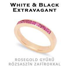 Rosegold gyűrű princess csiszolású rózsaszín zafírokkal - rosegold ring with princess cut pink sapphires in channel setting