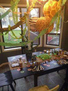 Wild Kratts birthday party, jungle party, zebra cheetah giraffe paper plates, party pail