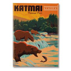 Visit Katmai National Park, Alaska to see the bears catch salmon! Alaska National Parks, Katmai National Park, American National Parks, Voyage Usa, Retro Poster, Kunst Poster, Vintage Travel Posters, Vintage Postcards, Artwork