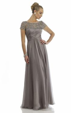 624a580d8e507 Sheer Mother Of The Bride Dresses A Line High Collar Short Cap Sleeves  Beaded Gray Long