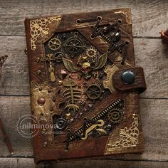 "Steampunk notebook A6 blank journal diary ""Treasures of a ship's hold... ($69) ❤ liked on Polyvore featuring home, home decor and stationery"