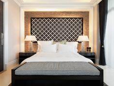 "Redi-Screens headboard: the ""Glastonbury"" design - contemporary - bedroom - austin - Crestview Doors Backlighting behind wall hanging."