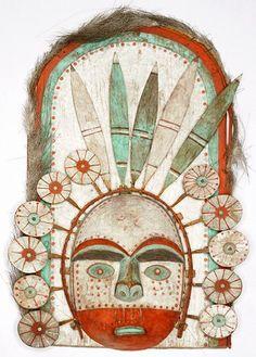 Mask representing the sun, painted wood, fur, twine, sinew, Kodiak Archipelago, Alaska.Picture by Philippe Chancel