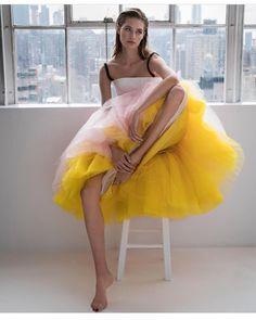 We are LOVING the peach/yellow tulle skirt on this Carolina Herrera stunner! It's our inspiration for Thursday's design session. * @juankr_ for @harpersbazaares * @carolinaherrera