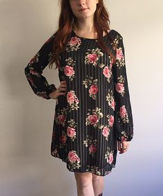 Black Floral Shift Dress - Women & Plus