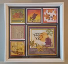 This is the first of a series of 4 Shadow Boxes my friend Debra LaFountain and I are designing using the Colorful Seasons Bundle. Box Frame Art, Shadow Box Frames, Christmas Shadow Boxes, Christmas Frames, Paper Art, Paper Crafts, Make Your Own Card, Stampin Up, Handmade Journals