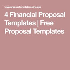 4 Financial Proposal Templates | Free Proposal Templates
