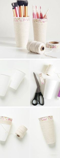 DIY Makeup Cup Organizers | Click Pic for 18 DIY Makeup Storage Ideas for Small Bedrooms | Easy Organization Ideas for the Home
