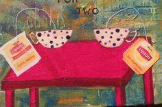 NFAC - Tea Time - small mixed media folk art painting #NaivePrimitive