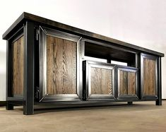Modern Industrial Media Console, Console Table, TV Stand, Entertainment Center, TV console Modern In Industrial Tv Stand, Modern Industrial Furniture, Rustic Furniture, Industrial Style, Furniture Design, Furniture Vanity, Farmhouse Furniture, Luxury Furniture, Console Modern